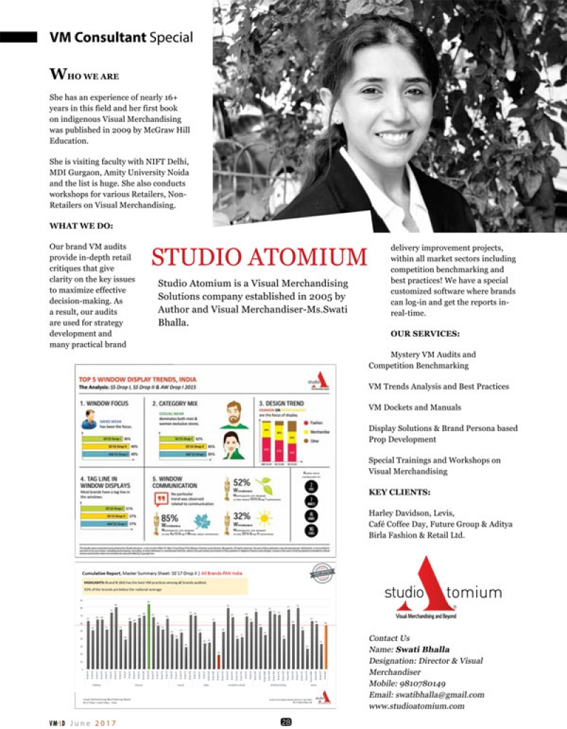 Studio Atomium has recently been featured in VMRD June 2017 VM Consultant Special.